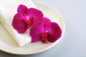 Flowers on a Heath Ceramics plate, for Tatcha