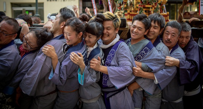 Revelers celebrat at the Kichijoji Autum Festival in Tokyo, Japan